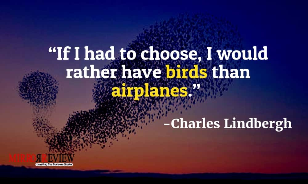 """If I had to choose, I would rather have birds than airplanes."" - Charles Lindbergh"